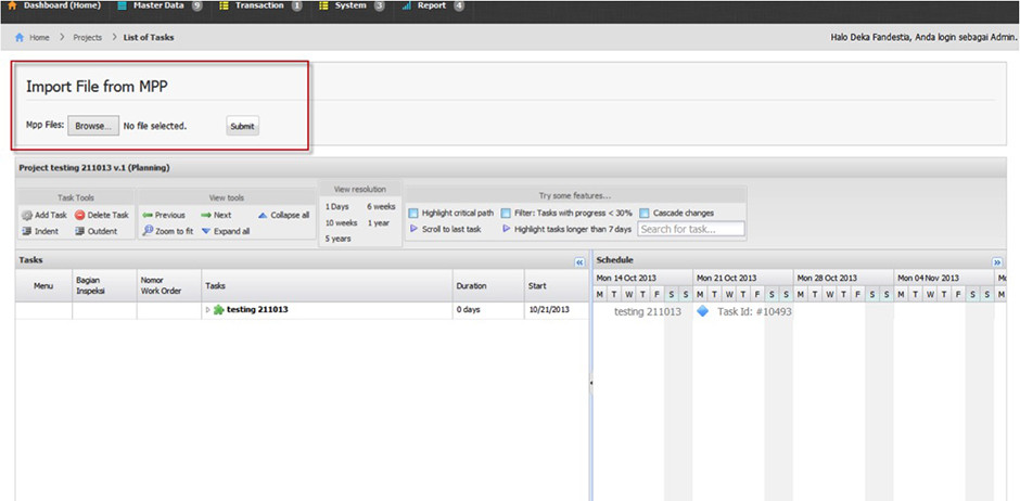 Arfadia Project Management Tools Module Feature – Import from MPP File (MS Project)