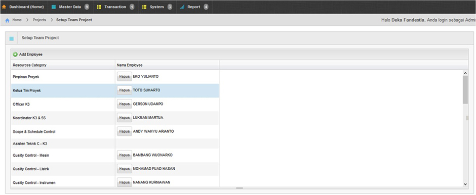 Arfadia Project Management Tools Module Feature – Setup Team Project