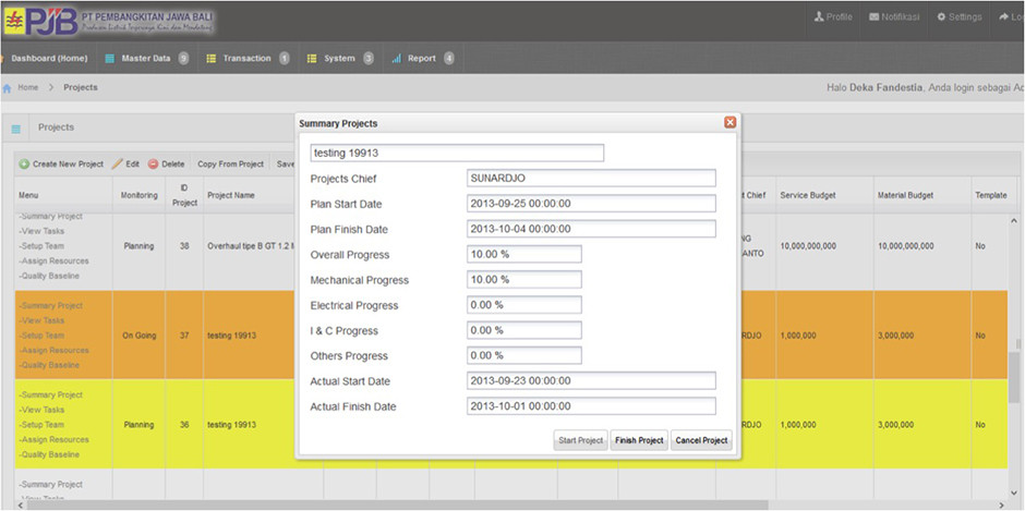 Arfadia Project Management Tools Module Feature – Summary Project